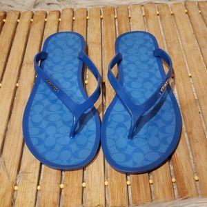 Coach blue flip flops sandals